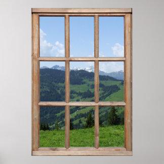 Mountain View d'une fenêtre Poster