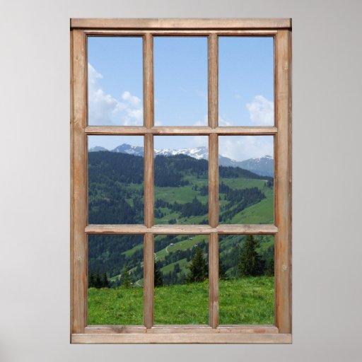 Mountain View d'une fenêtre Posters