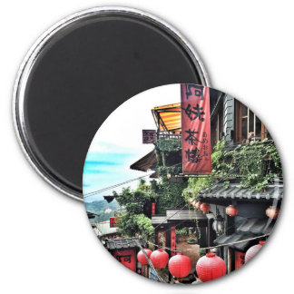 Mountain village and Chinese teahouse 2 Inch Round Magnet
