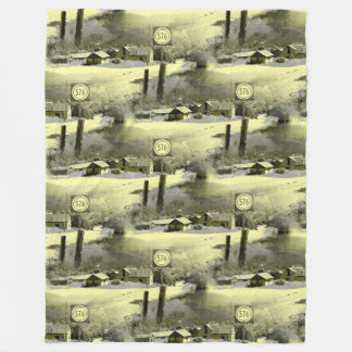 Mountain Village in Tiled Pattern Fleece Blanket