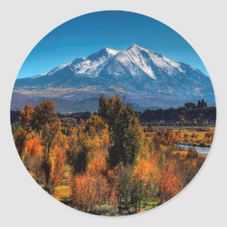 Mountain Warm Forest Cool Top Classic Round Sticker