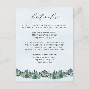 Mountain Watercolor Elegant Rustic Themed Wedding Enclosure Card