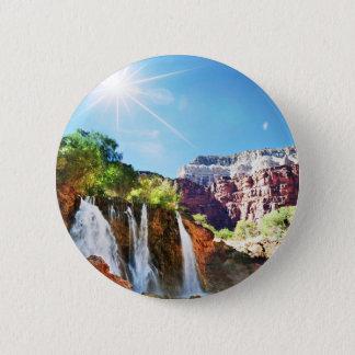 Mountain Waterfall 2 Inch Round Button