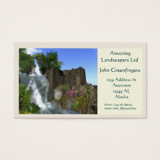 Mountain Waterfall Landscape Theme Business Card