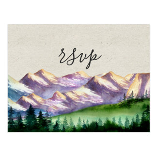 Mountain Wedding RSVP with Meal Choice Postcard