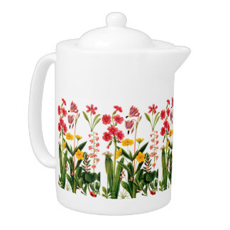 Mountain Wildflowers Flowers Porcelain Teapot
