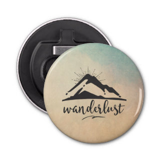 Mountain with Sunrays and Wanderlust Typography Button Bottle Opener