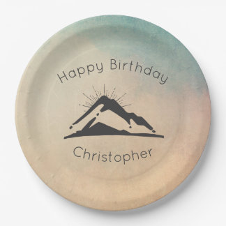 Mountain with Sunrays Happy Birthday 9 Inch Paper Plate