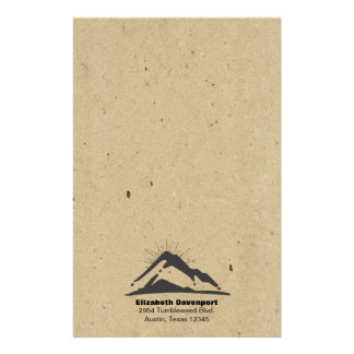 Mountain with Sunrays on FAUX Kraft Paper Texture