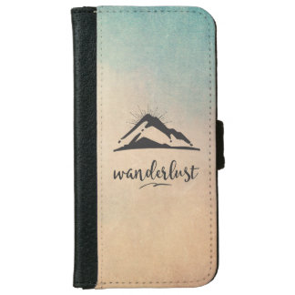 Mountain with Sunrays Wanderlust Typography iPhone 6 Wallet Case