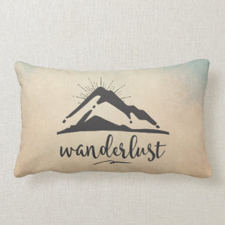 Mountain with Sunrays - Wanderlust Typography Lumbar Pillow