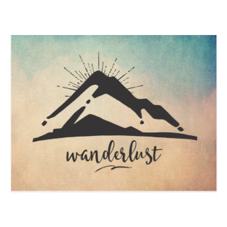 Mountain with Sunrays - Wanderlust Typography Postcard