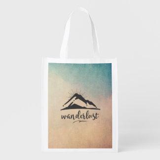 Mountain with Sunrays - Wanderlust Typography Reusable Grocery Bag