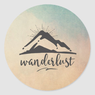 Mountain with Sunrays - Wanderlust Typography Round Sticker
