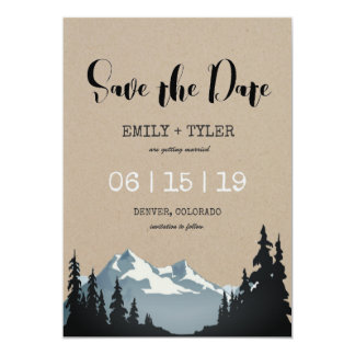 Mountain Woodland Forest Wedding Save The Date Card
