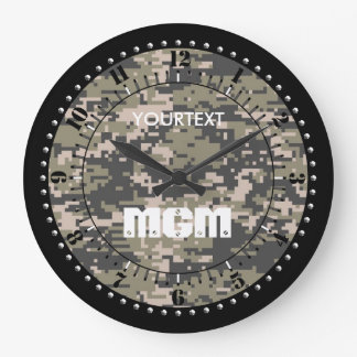 Mountaineer Digital Camouflage Personalized Large Clock