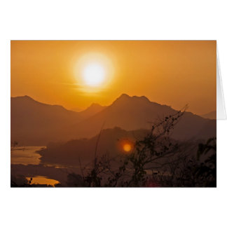 Mountainous Laos Sunset Card