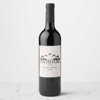 Mountains Adventure Begins Wedding Monogram Wine Label