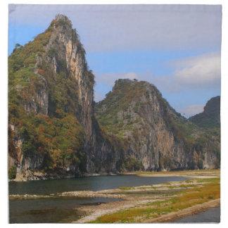 Mountains along Li River, China Napkin