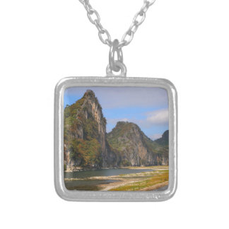 Mountains along Li River, China Silver Plated Necklace