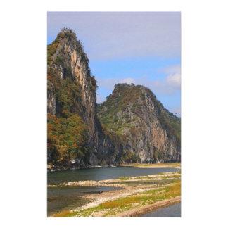 Mountains along Li River, China Stationery