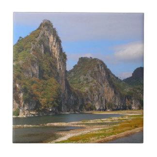 Mountains along Li River, China Tile