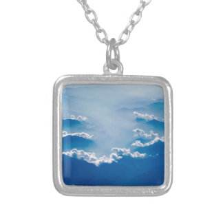 Mountains and Clouds Silver Plated Necklace