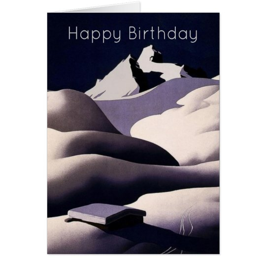 Mountains And Hills of Snow in Winter Birthday Card