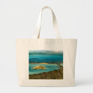 Mountains and Sea at Machalilla National Park Large Tote Bag