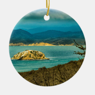 Mountains and Sea at Machalilla National Park Round Ceramic Ornament