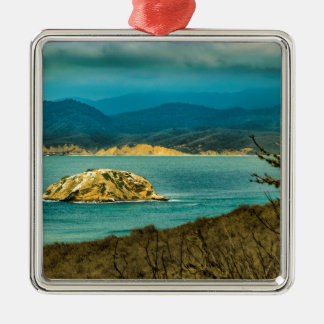Mountains and Sea at Machalilla National Park Silver-Colored Square Ornament
