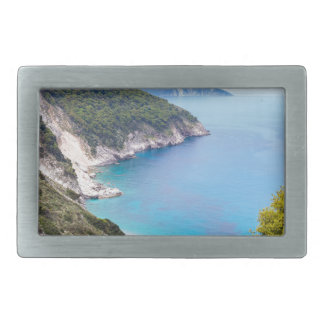 Mountains and sea in greek bay belt buckles