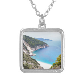 Mountains and sea in greek bay silver plated necklace