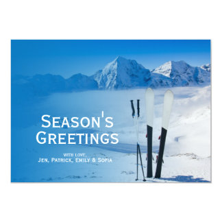 "Mountains and ski equipment 5"" x 7"" invitation card"