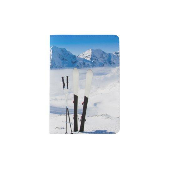 Mountains and ski equipment passport holder