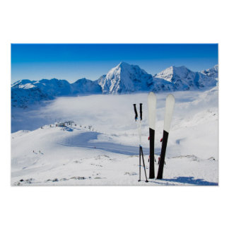 Mountains and ski equipment poster