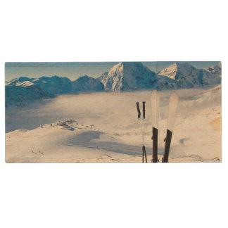 Mountains and ski equipment wood USB flash drive