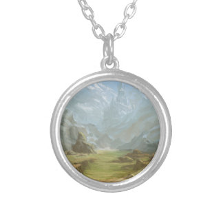 Mountains And Snow Silver Plated Necklace