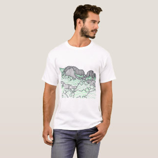 Mountains and Trees Line Drawing Tee Shirts