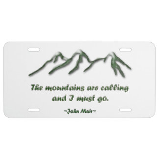 Mountains are calling/Snow tipped mtns License Plate
