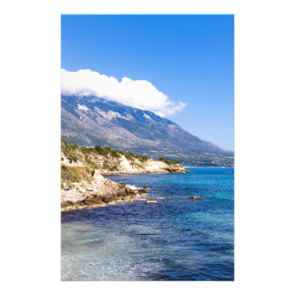 Mountains at coast  with sea in Kefalonia Greece Stationery Design