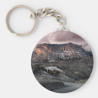 Mountains at Sunrise Basic Round Button Keychain