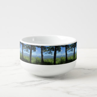 Mountains Between Two Trees Soup Bowl With Handle