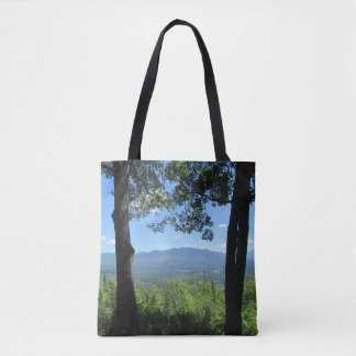 Mountains Between Two Trees Tote Bag