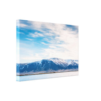 Mountains by the arctic sea canvas print