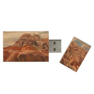 Mountains HDR photo Wood USB 2.0 Flash Drive