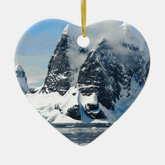 mountains ice bergs ceramic heart ornament
