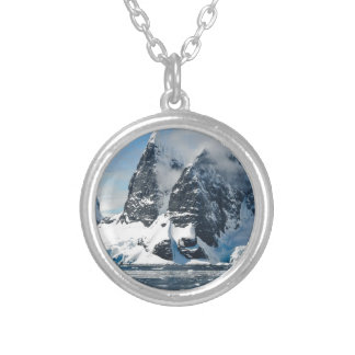 mountains ice bergs silver plated necklace