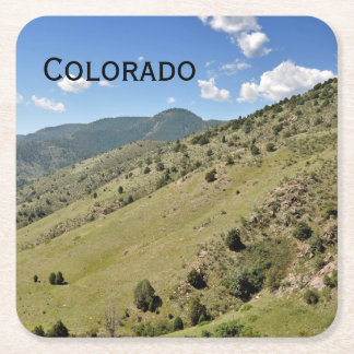 mountains in Morrison Colorado Square Paper Coaster
