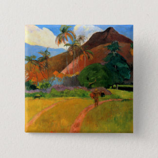 Mountains in Tahiti Gauguin painting warm colorful 2 Inch Square Button